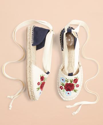 Brooks Brothers Floral-embroidered Espadrilles