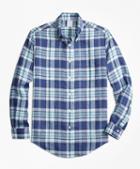 Brooks Brothers Regent Fit Blue Plaid Irish Linen Sport Shirt
