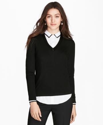 Brooks Brothers Women's Beaded Merino Wool V-neck Sweater