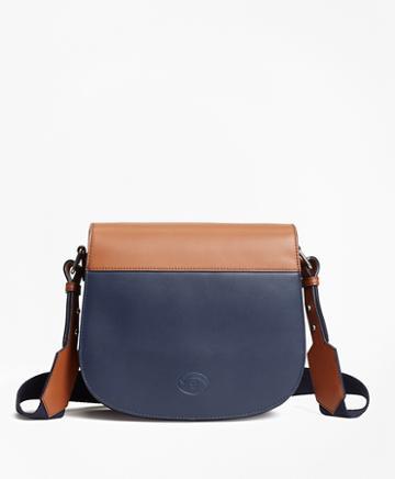 Brooks Brothers Color-block Leather Saddle Bag