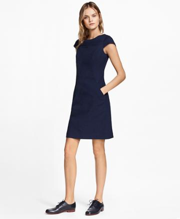 Brooks Brothers Women's Stretch Cotton Jacquard Cap-sleeve Dress