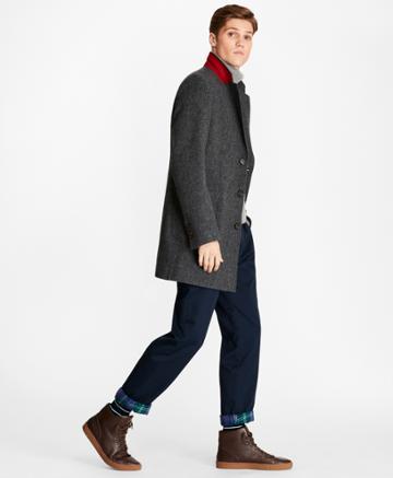 Brooks Brothers Men's Dobby Lambswool Topcoat