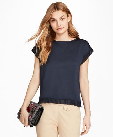 Brooks Brothers Pleated Chiffon-trimmed Crepe Blouse