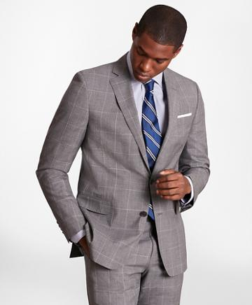 Brooks Brothers Brooksgate Regent-fit Windowpane Wool Suit Jacket