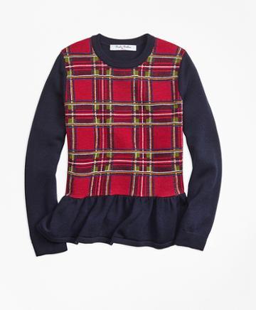 Brooks Brothers Merino Wool Holiday Tartan Peplum Sweater
