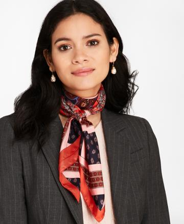 Brooks Brothers Women's Mixed-print Silk Square Scarf