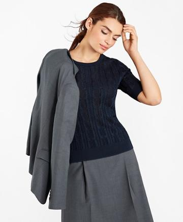 Brooks Brothers Pointelle Cable-kit Sweater
