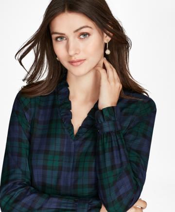 Brooks Brothers Women's Non-iron Ruffled Black Watch Supima Cotton Twill Shirt