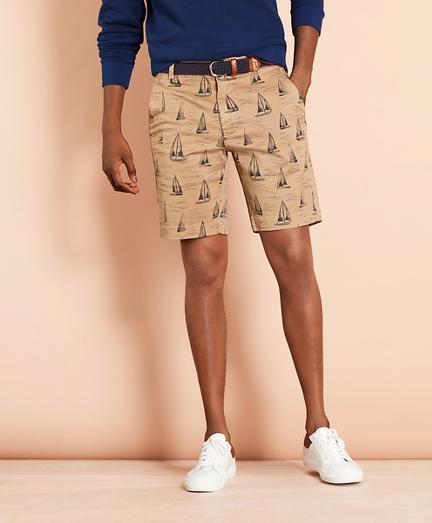 Brooks Brothers Sailboat-print Cotton Twill Shorts