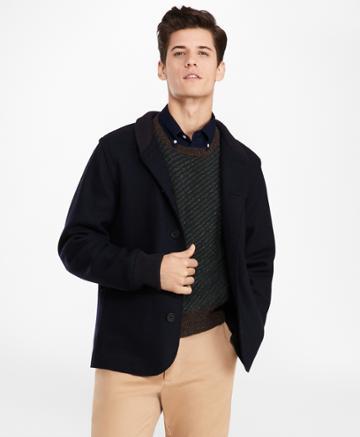 Brooks Brothers Men's Wool-blend Jersey-knit Baseball Jacket