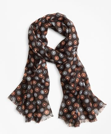 Brooks Brothers Men's Circle And Dot Wool Scarf