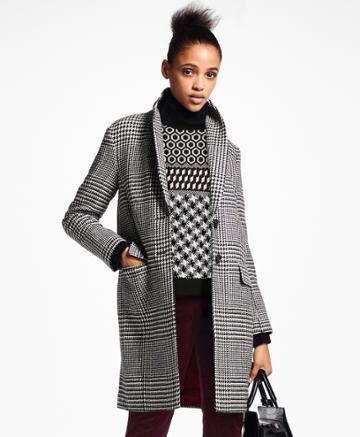 Brooks Brothers Women's Glen Plaid Wool Cocoon Coat