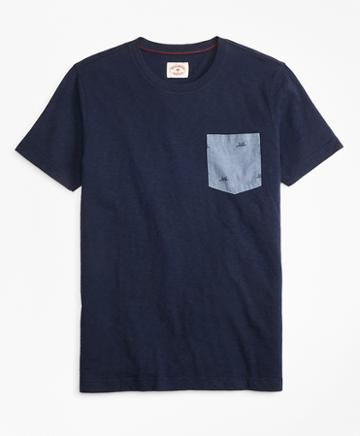 Brooks Brothers Printed Slub Cotton Pocket T-shirt