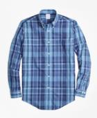 Brooks Brothers Men's Non-iron Regent Fit Madras Sport Shirt