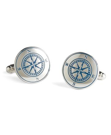 Brooks Brothers Sterling Silver Compass Cuff Links