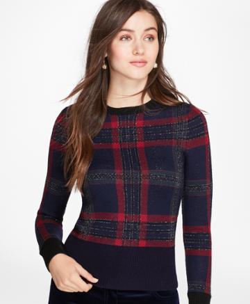 Brooks Brothers Women's Tartan Merino Wool-blend Sweater
