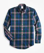 Brooks Brothers Non-iron Madison Fit Green Tartan Sport Shirt