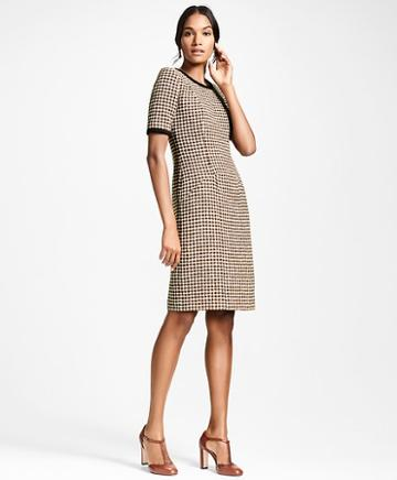 Brooks Brothers Checked Tweed A-line Dress
