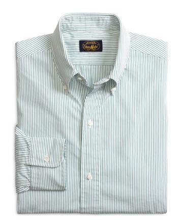 Brooks Brothers Own Make Green Pencil Stripe Sport Shirt