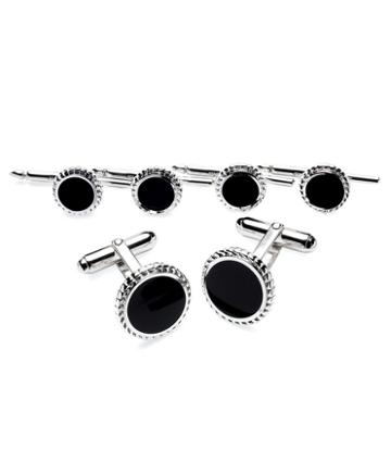 Brooks Brothers Silver/onyx With Braid Cuff Links