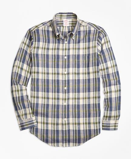 Brooks Brothers Madison Fit Large Plaid Irish Linen Sport Shirt