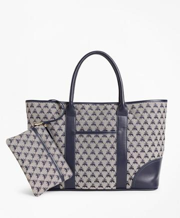 Brooks Brothers Leather-trimmed Logo Jacquard Tote Bag