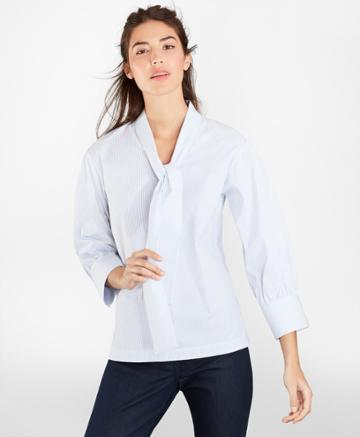Brooks Brothers Women's Non-iron Striped Stretch Supima Cotton Blouse