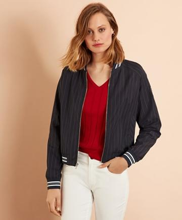 Brooks Brothers Pinstripe Bomber Jacket