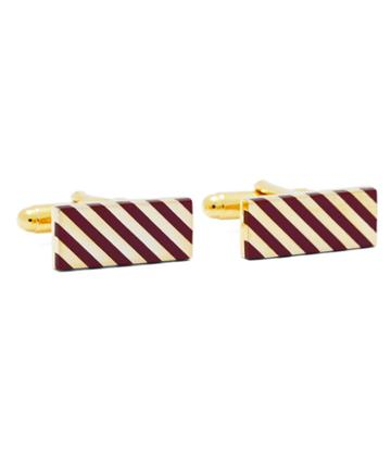 Brooks Brothers Burgundy And Gold Diagonal Stripe Rectangular Cuff Links