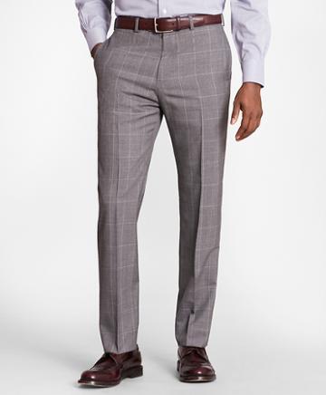 Brooks Brothers Brooksgate Regent-fit Windowpane Wool Suit Pants