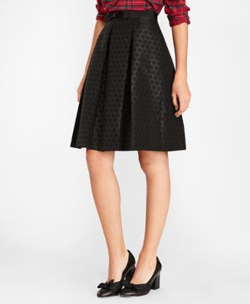 Brooks Brothers Women's Polka-dot Jacquard Pleated Skirt
