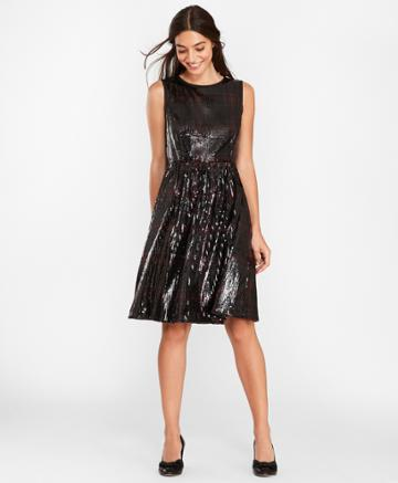 Brooks Brothers Women's Sequined Plaid Dress