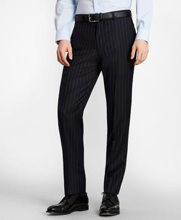 Brooks Brothers Brooksgate Milano-fit Bead-stripe Wool Twill Suit Pants