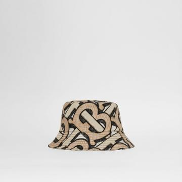 Burberry Burberry Monogram Print Cotton Canvas Bucket Hat, Size: L, Beige