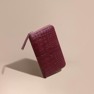 Burberry Burberry Alligator And Leather Ziparound Wallet, Red