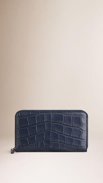 Burberry Burberry Alligator Ziparound Wallet, Blue
