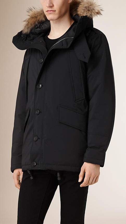 Burberry Brit Down Filled Parka With Detachable Fur Trim Hood