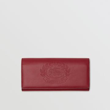 Burberry Burberry Embossed Crest Two-tone Leather Continental Wallet, Red