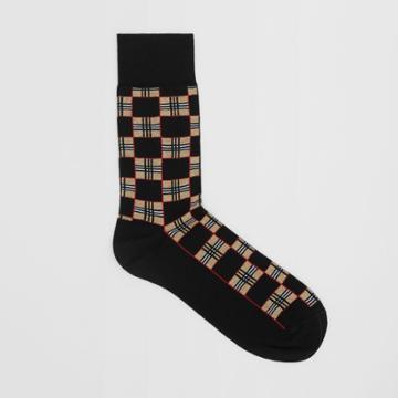 Burberry Burberry Chequer Cotton Blend Socks, Size: M, Black