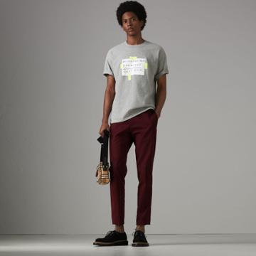 Burberry Burberry Sign Print Cotton T-shirt, Size: M, Grey
