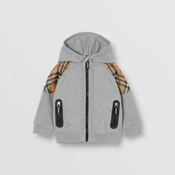 Burberry Burberry Childrens Vintage Check Panel Cotton Hooded Top, Size: 2y, Grey