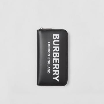 Burberry Burberry Logo Print Leather Ziparound Wallet, Black