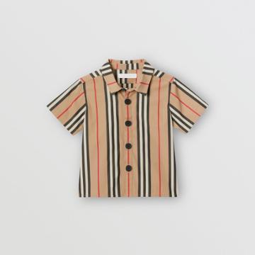 Burberry Burberry Childrens Short-sleeve Icon Stripe Cotton Shirt, Size: 18m, Beige
