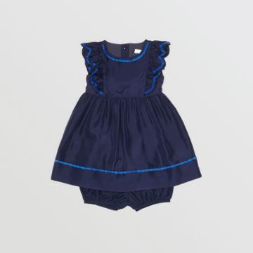 Burberry Burberry Childrens Ruffle Detail Embroidered Silk Dress With Bloomers, Size: 2y, Blue