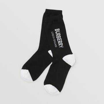 Burberry Burberry Childrens Logo Intarsia Cotton Blend Socks, Size: 27-29, Black