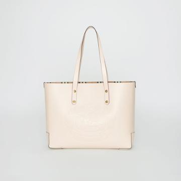 Burberry Burberry Small Embossed Crest Leather Tote, Grey