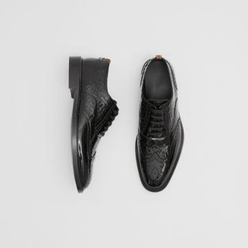 Burberry Burberry D-ring Detail Monogram Patent Leather Brogues, Size: 41, Black