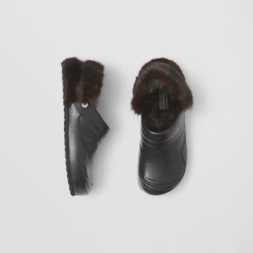 Burberry Burberry Faux Fur Trim Leather Slingback Mules, Size: 41