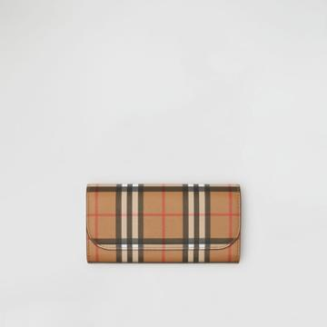 Burberry Burberry Vintage Check And Leather Continental Wallet, Red