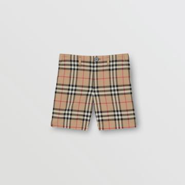 Burberry Burberry Childrens Vintage Check Cotton Tailored Shorts, Size: 3y, Beige